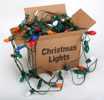 Always examine your Christmas lights for damage and burned out bulbs before installing them